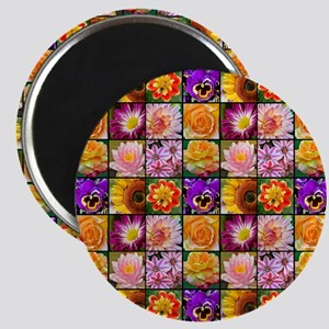 Colorful flower collage Magnets
