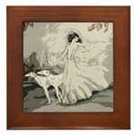 Art Deco Lady And Borzoi Framed Tile