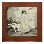 Art Deco Lady And Borzoi Framed Tile