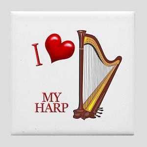I Love My HARP Tile Coaster