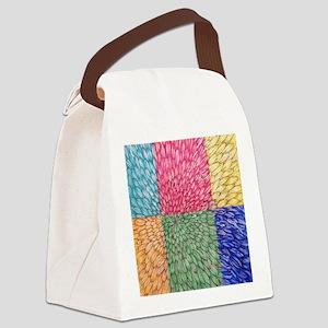 Colorblock Chrysanthemum Canvas Lunch Bag