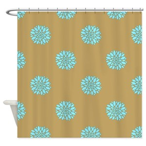 Blue Floral On Mustard Shower Curtain