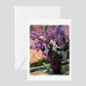 Lilacs in a Window by Mary Cassatt Greeting Card