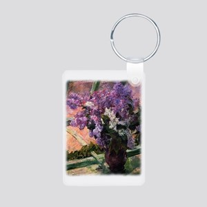 Lilacs in a Window by Mary Aluminum Photo Keychain
