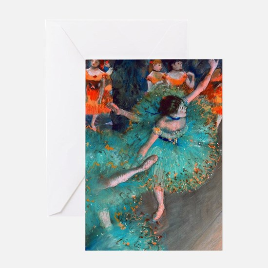 The Green Dancer by Edgar Degas Greeting Card