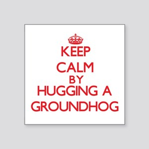 Keep calm by hugging a Groundhog Sticker