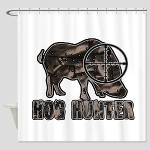 Riveted Metal Feral Hog Hunter Shower Curtain