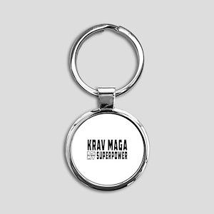 Krav Maga Is My Superpower Round Keychain