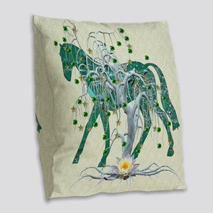 Horse In Winter Forest Burlap Throw Pillow