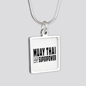 Muay Thai Is My Superpower Silver Square Necklace