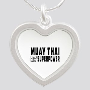 Muay Thai Is My Superpower Silver Heart Necklace