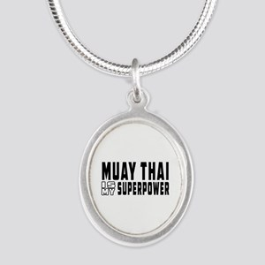 Muay Thai Is My Superpower Silver Oval Necklace