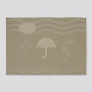 Cute Beige Umbrella 5'x7'Area Rug