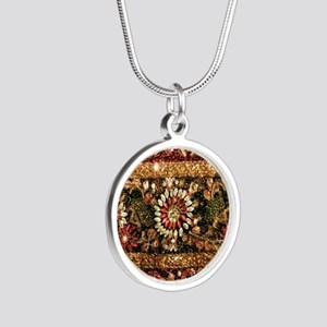 Beaded Indian Saree Photo Silver Round Necklace
