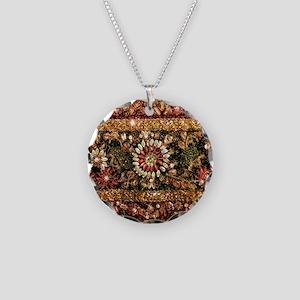 Beaded Indian Saree Photo Necklace Circle Charm