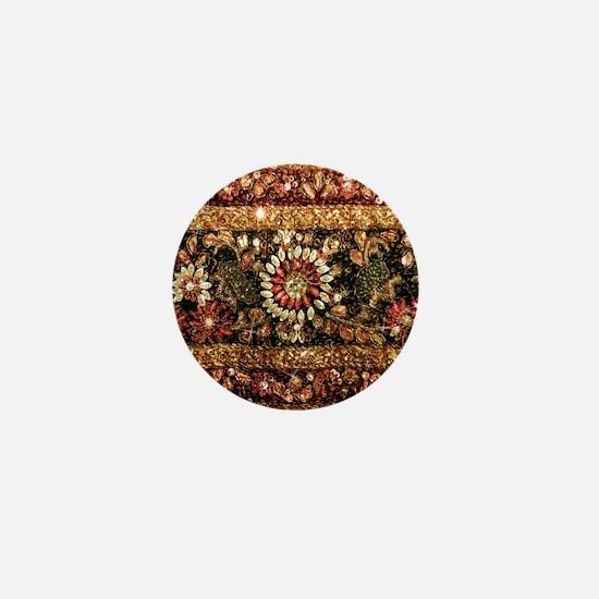 Beaded Indian Saree Photo Mini Button