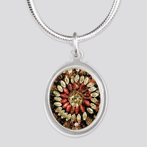 Beaded Indian Saree Photo Silver Oval Necklace