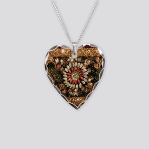 Beaded Indian Saree Photo Necklace Heart Charm