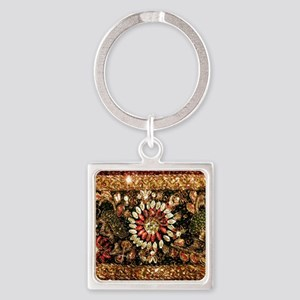 Beaded Indian Saree Photo Square Keychain