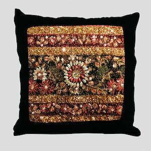 Beaded Indian Saree Photo Throw Pillow