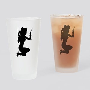 Sexy Cowgirl Silhouette Drinking Glass
