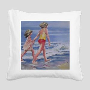 Beach Walk Beachcombing Square Canvas Pillow
