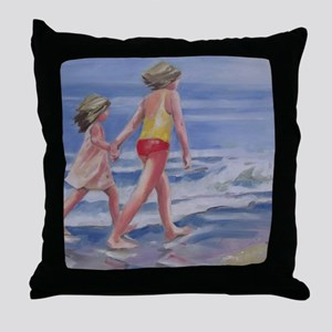 Beach Walk Beachcombing Throw Pillow