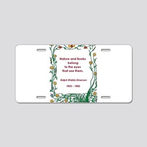nature and books Aluminum License Plate