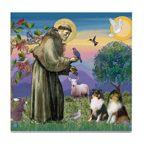 St. Francis and Sheltie Pair Tile Coaster