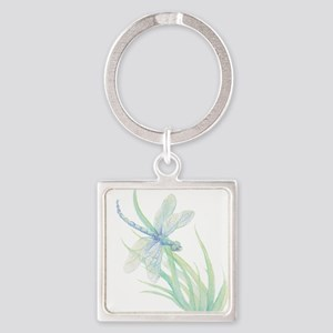 Watercolor Dragonfly painting in soft Blues Green