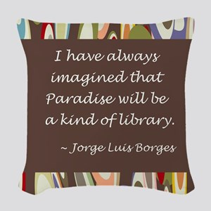 paradise library Borges Woven Throw Pillow