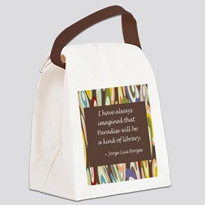 paradise library Borges Canvas Lunch Bag