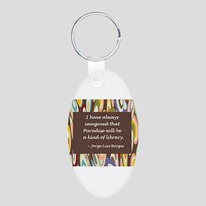 paradise library Borges Aluminum Oval Keychain