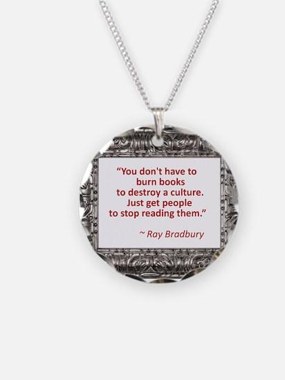 bradbury on books.jpg Necklace Circle Charm