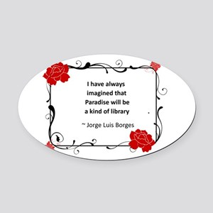 paradise library Oval Car Magnet