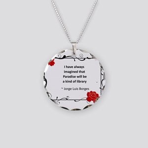 paradise library Necklace Circle Charm