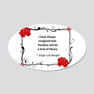 paradise library 20x12 Oval Wall Decal