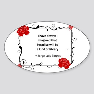 paradise library.jpg Sticker (Oval)