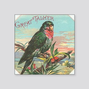 "Vintage Parrot Cigar Label Square Sticker 3"" x 3"""