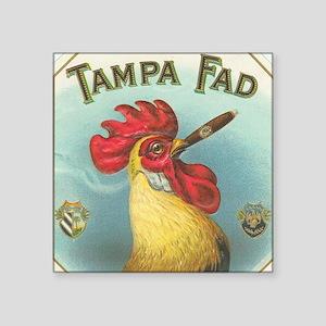 """Vintage Rooster Cigar Label Square Sticker 3"""" x 3"""""""
