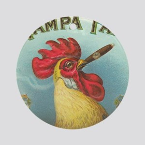 Vintage Rooster Cigar Label Round Ornament