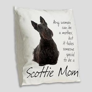 Scottie Mom Burlap Throw Pillow