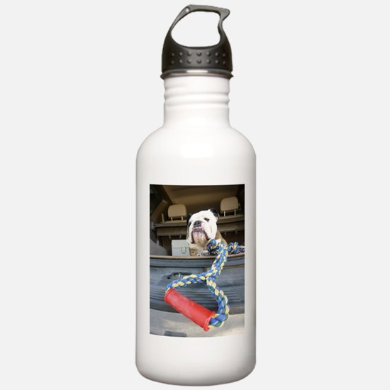 English bulldog with tug toy Water Bottle