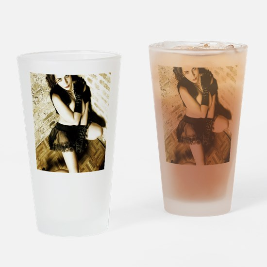 Sexy Woman in Lingerie Drinking Glass