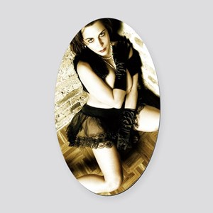 Sexy Woman in Lingerie Oval Car Magnet