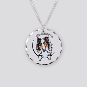 Blue Merle Sheltie IAAM Necklace Circle Charm