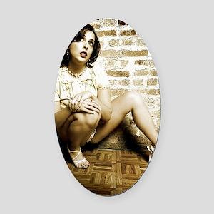 Pretty Girl in Lingerie Oval Car Magnet