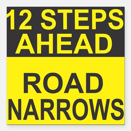 "Road Narrows Square Car Magnet 3"" x 3"""