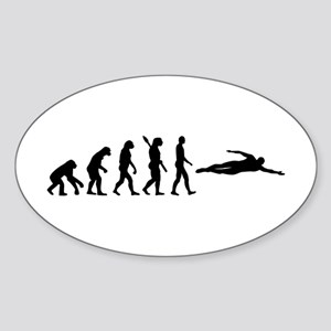 Swimming evolution Sticker (Oval)