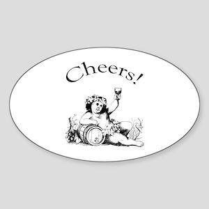 English Toast Wine Oval Sticker